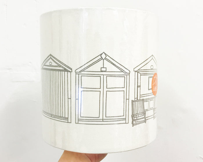 Beach Hut Grey Drum Lampshade - 20cm D x 20cm H