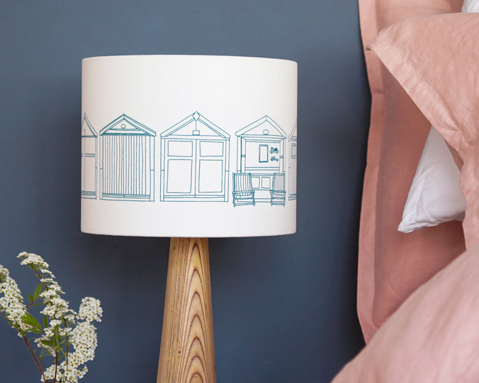 Beach Huts Teal Drum Lampshade