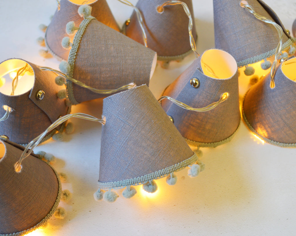 Grey Pom Pom Fairy Lights