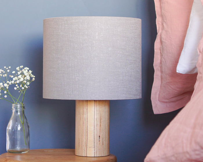 Grey Linen Drum Lampshade