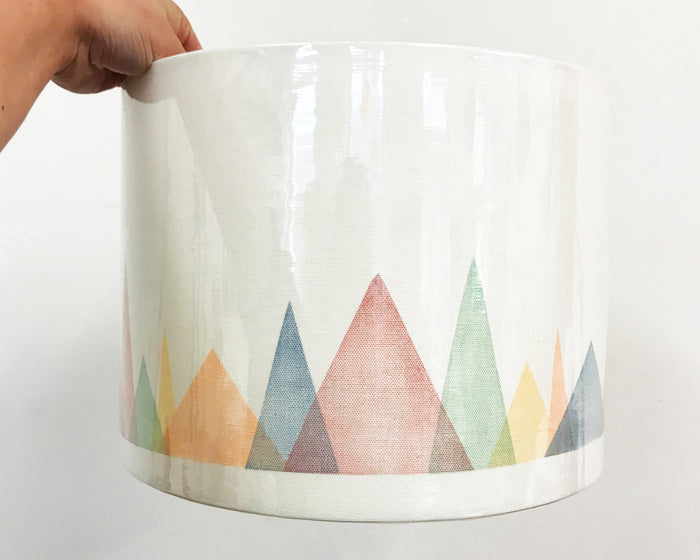Colourful Mountains Drum Lampshade - 30cm D x 22cm H
