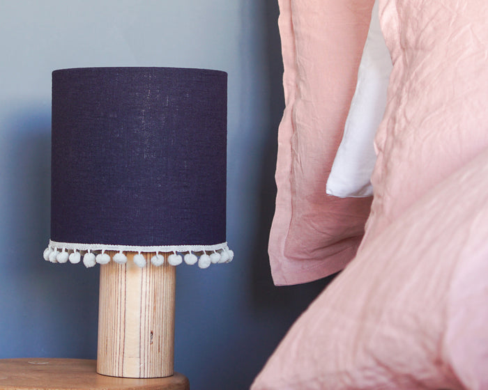 Navy Pom Pom Linen Drum Table Lampshade