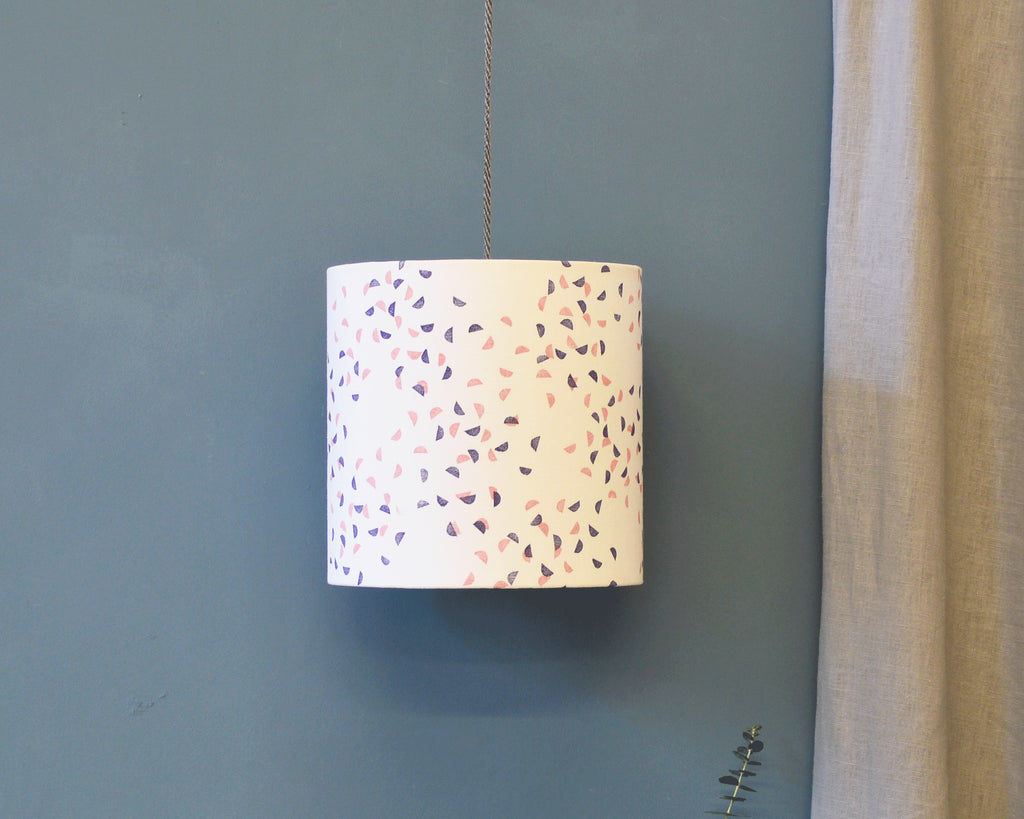 Navy and Pink Segments Drum Ceiling Lampshade