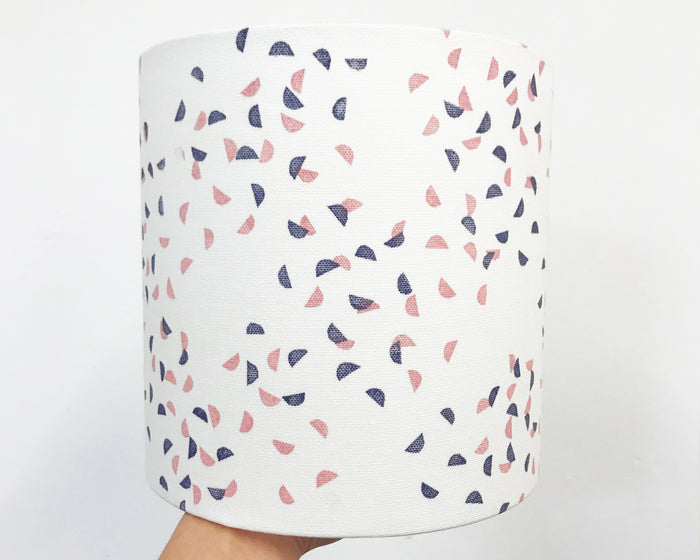 Segments Navy and Pink Drum Lampshade - 20cm D x 20cm H