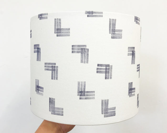 Stripes Navy Drum Lampshade - 25cm D x 20cm H