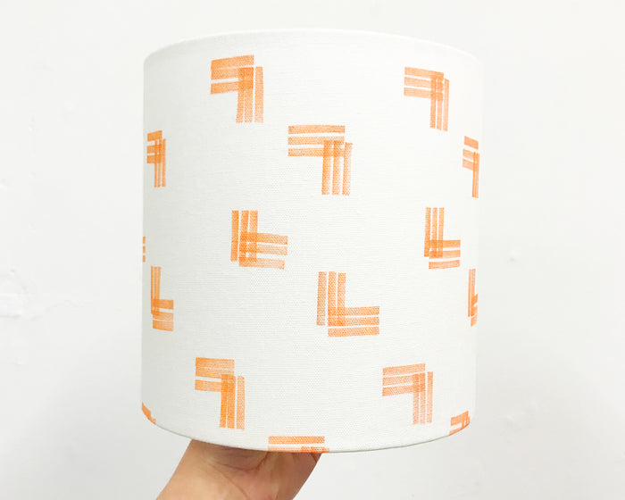 Stripes Orange Drum Lampshade - 20cm D x 20cm H