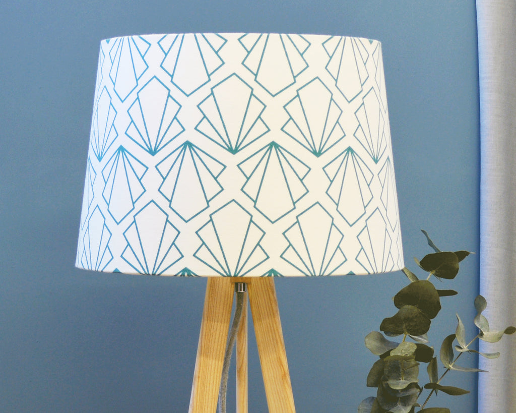 Geometric Blue Tapered Lampshade