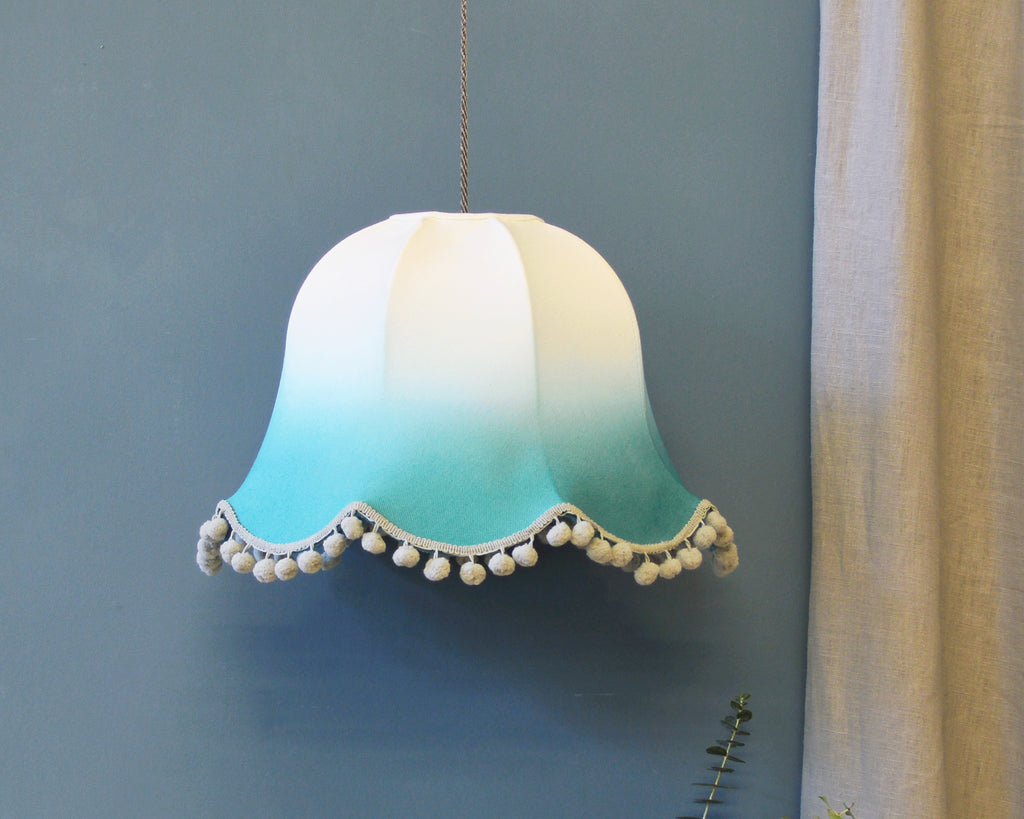 Teal Dip Dyed Traditional Ceiling Lamp