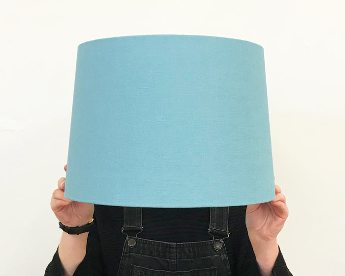 Teal Linen Tapered Lampshade - Medium