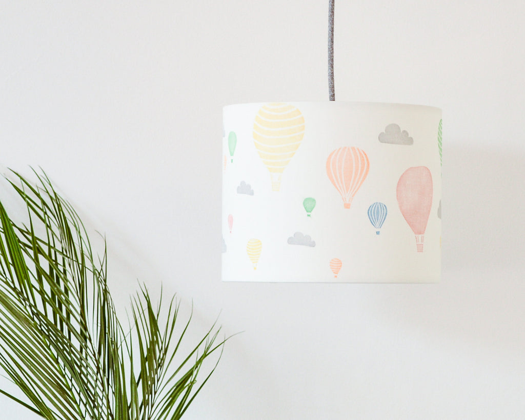 Hot Air Balloon and Clouds Drum Lampshade