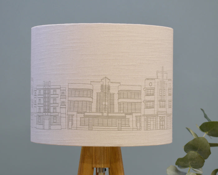 Grey Linen Drum Lamp Shade