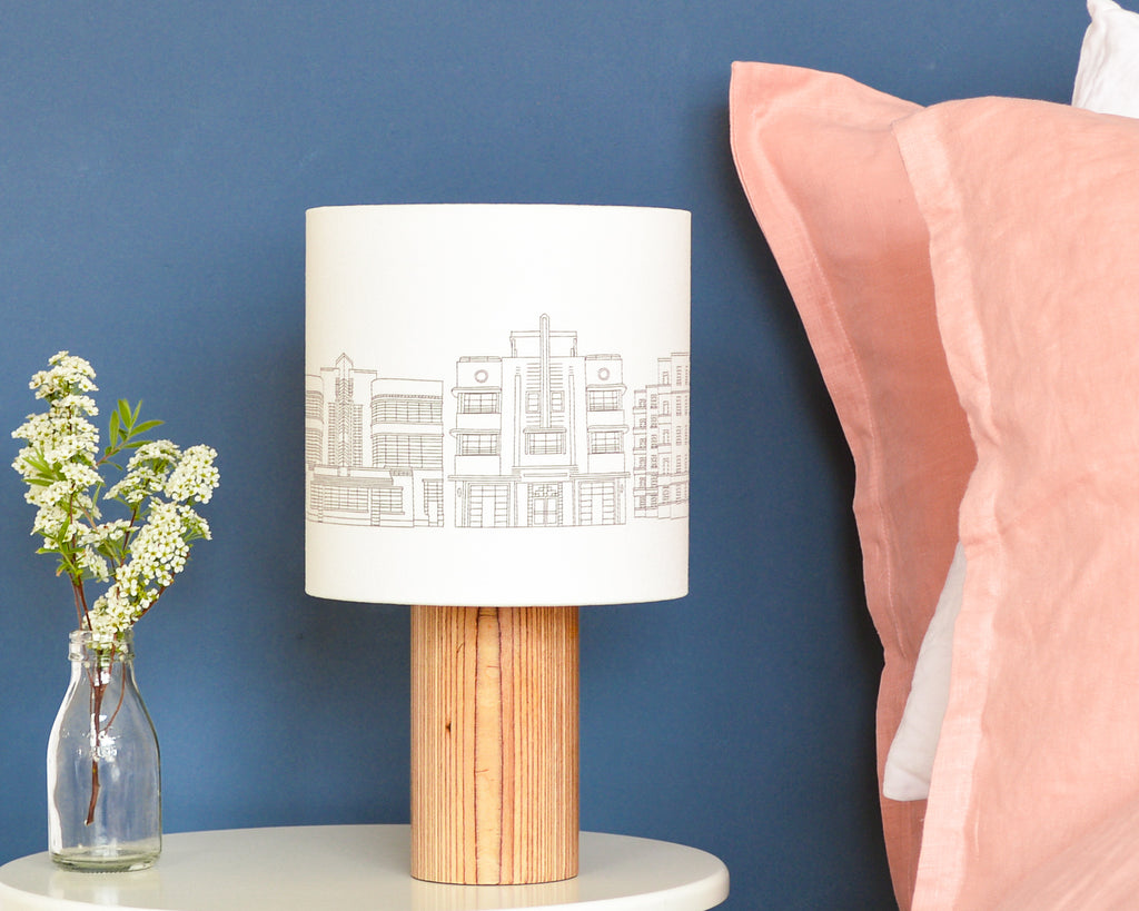 Art Deco Buildings Drum Lampshade - Lume + Joanna Corney