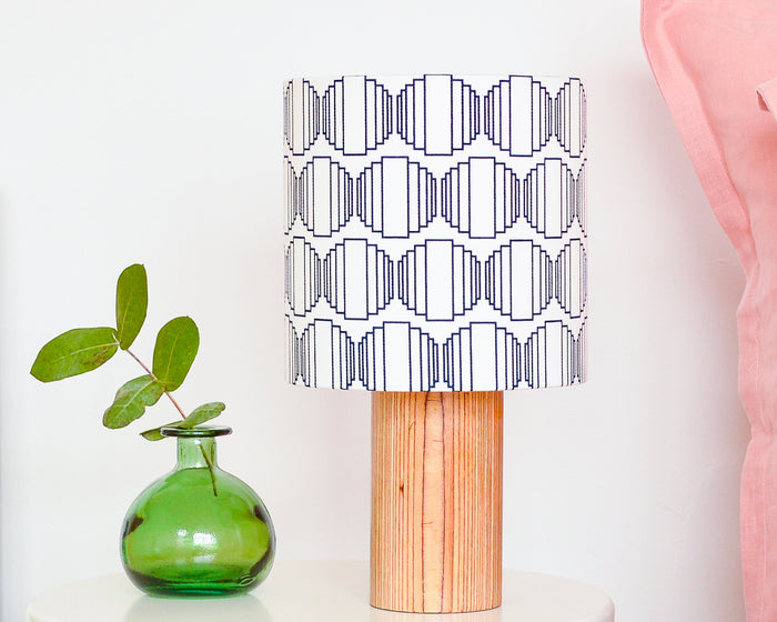 Navy Ellipse Drum Table Lampshade