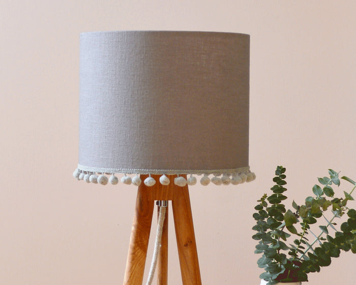 Grey Pom Pom Table Lamp