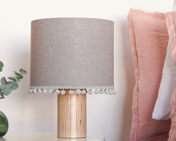 Grey Pom Pom Linen Drum Lampshade