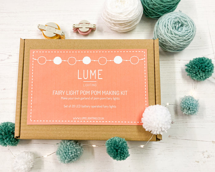 Fairy light pom pom craft kit, icy blues