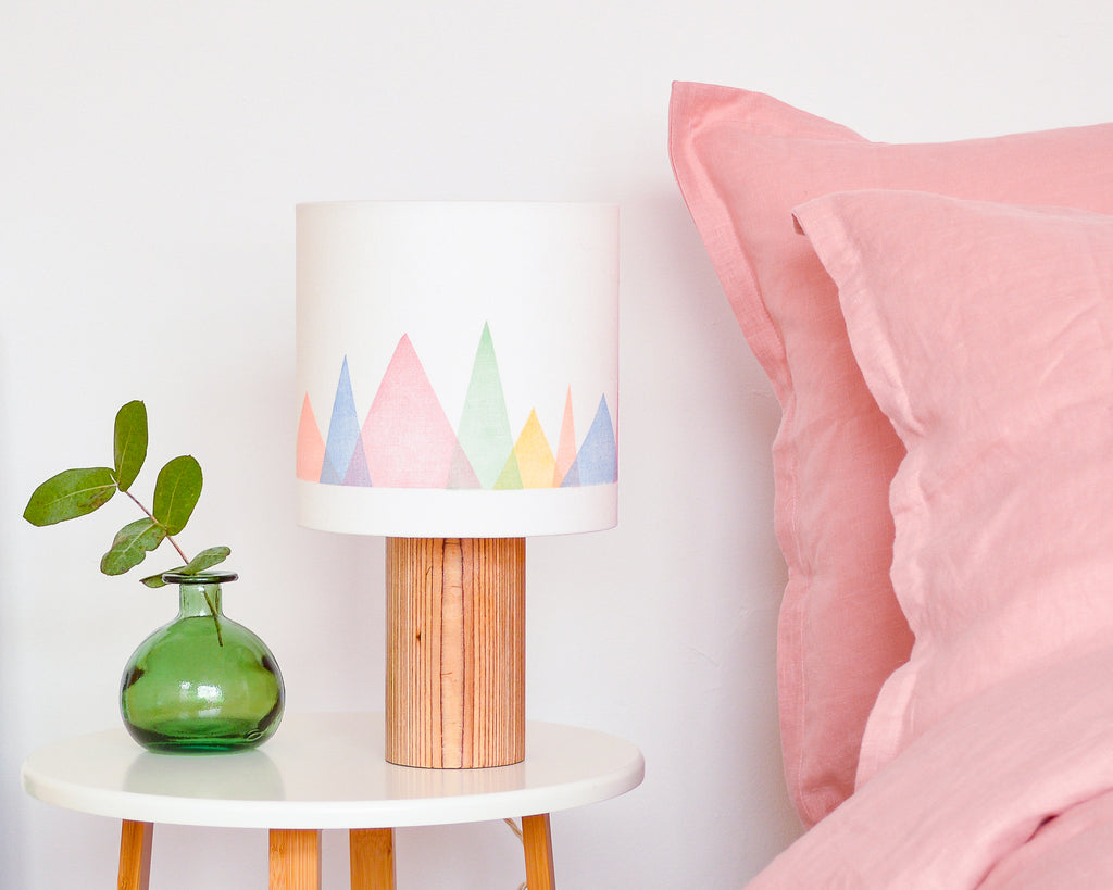 Colourful Mountains Drum Table Lampshade