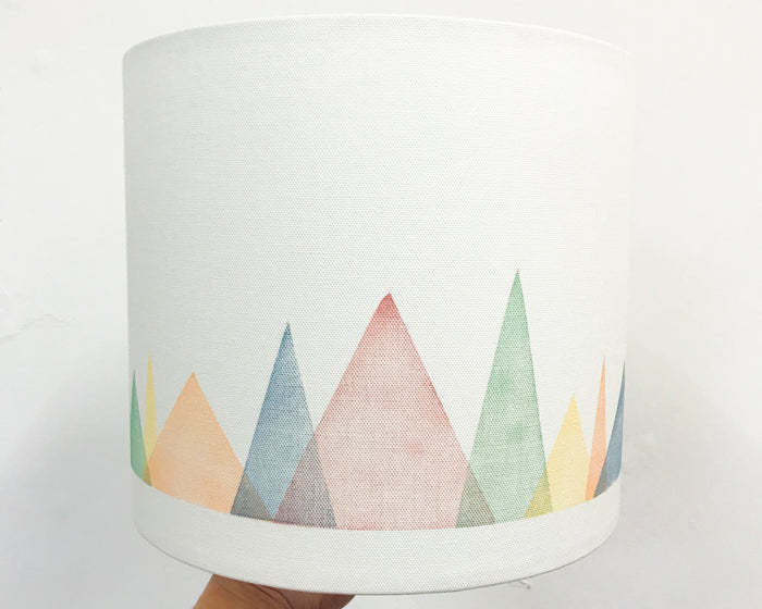 Colourful Mountains Drum Lampshade - 25cm D x 22cm H