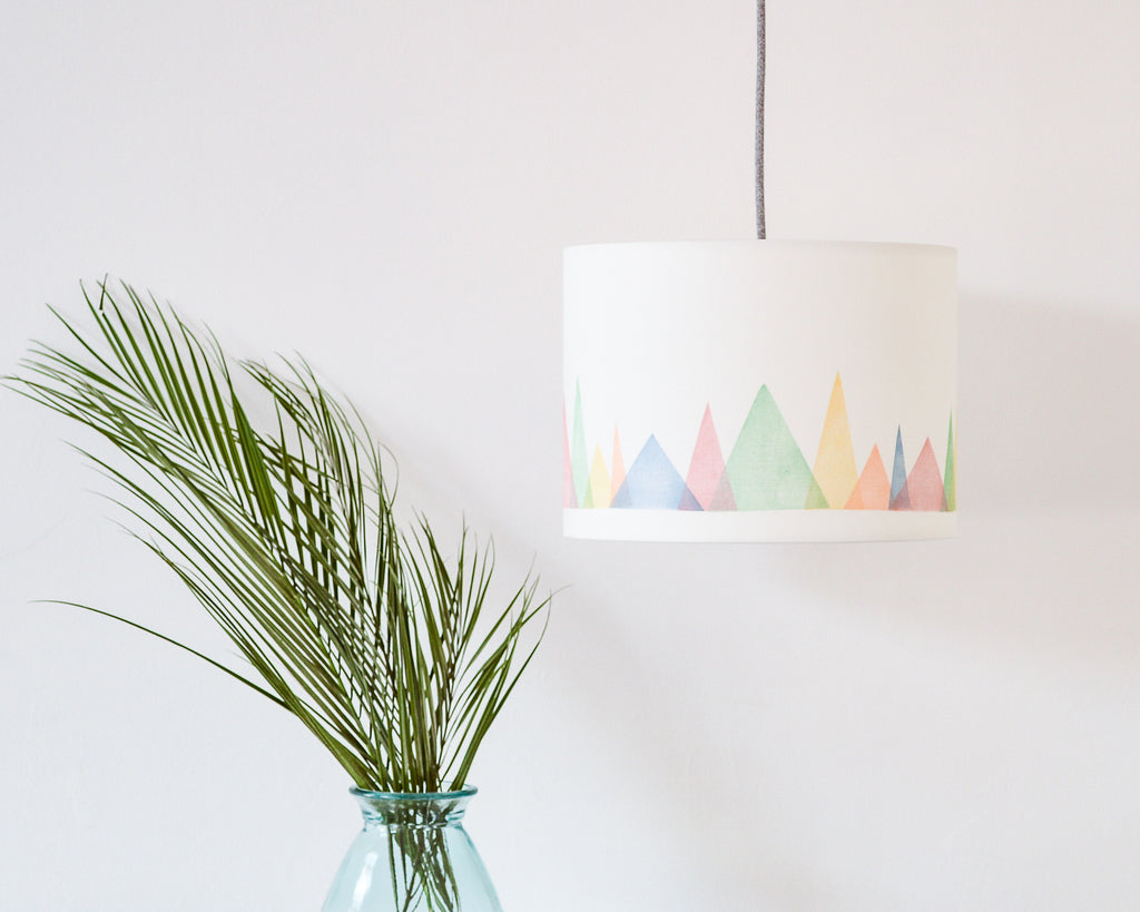 Colourful Mountains Drum Ceiling Lampshade