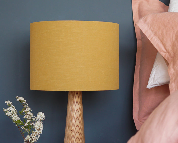 Mustard Linen Drum Table Lampshade