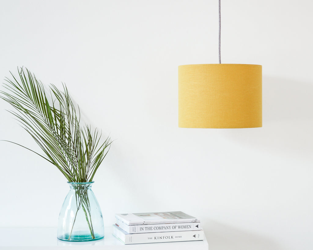 Mustard Linen Drum Ceiling Lampshade