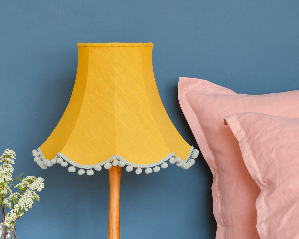 Mustard Linen Traditional Table Lampshade