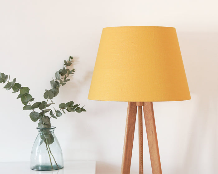 Mustard Linen Tapered floor Lampshade