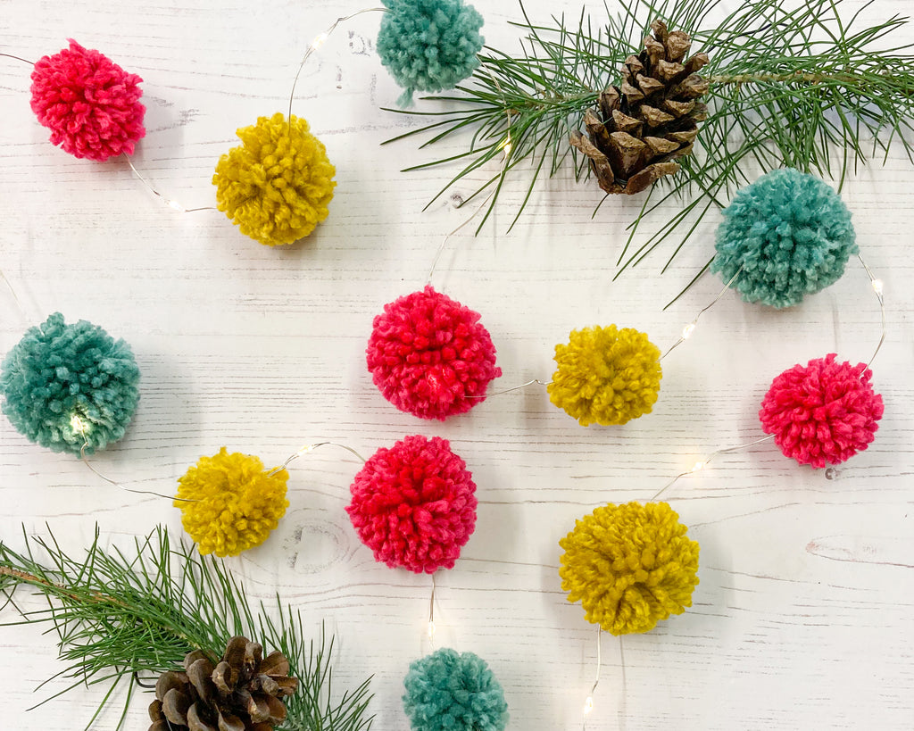 Fairy light pom pom craft kit, bright and colourful