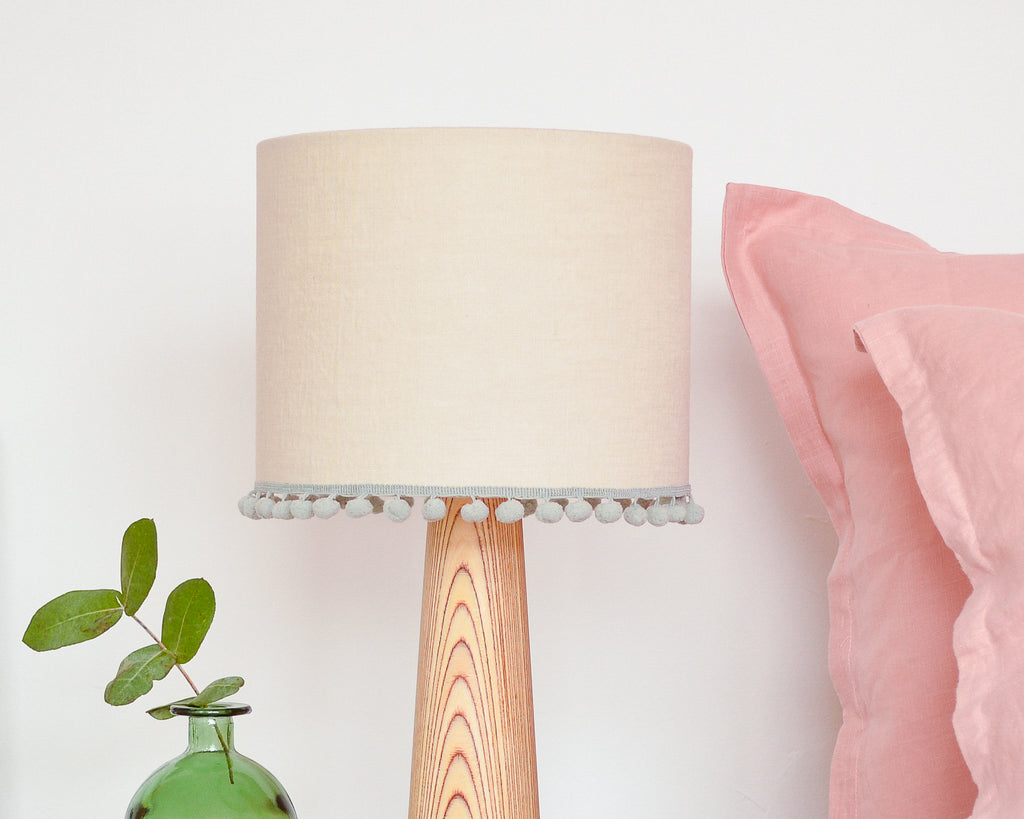 Natural Pom Pom Linen Drum Lampshade
