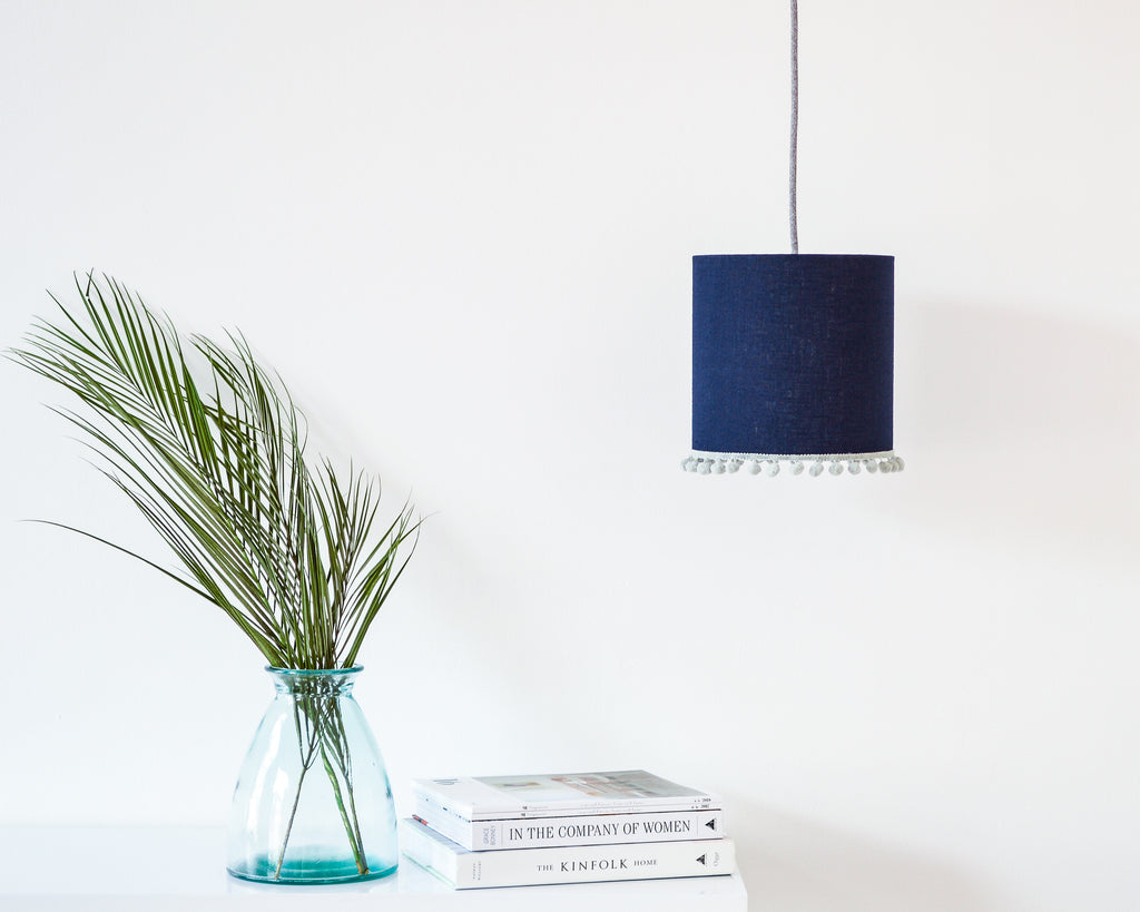 Navy Pom Pom Linen Drum Ceiling Lampshade