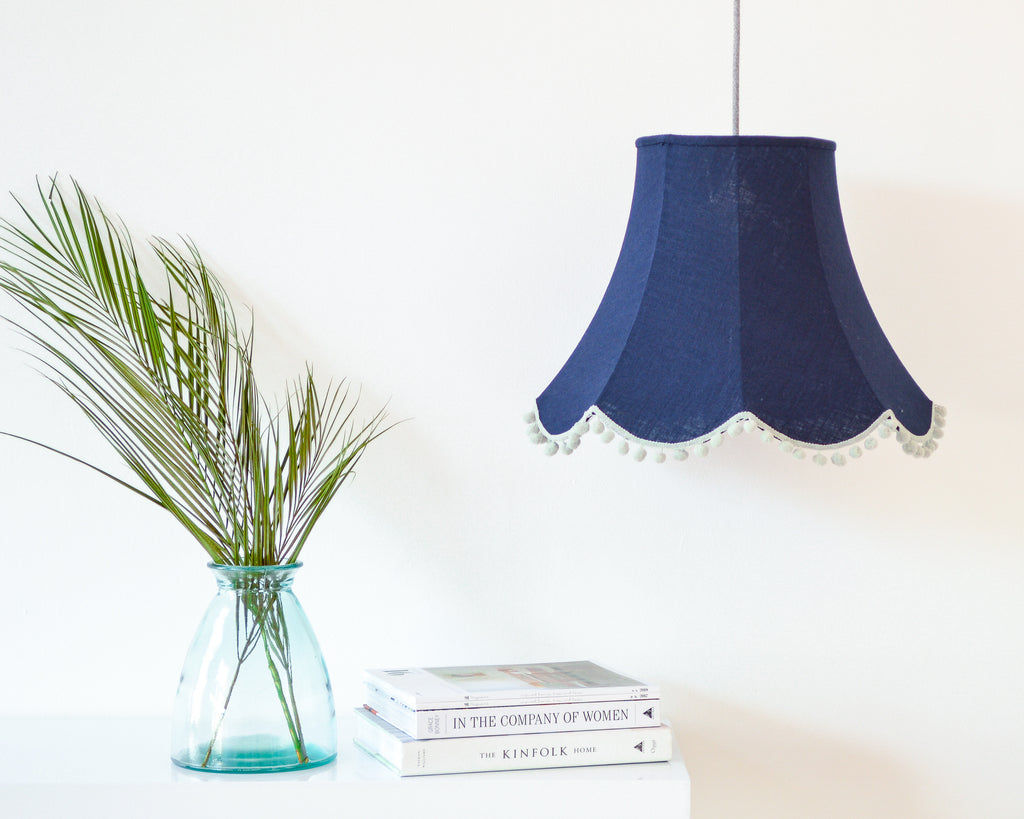 Navy Linen Traditional Lampshade