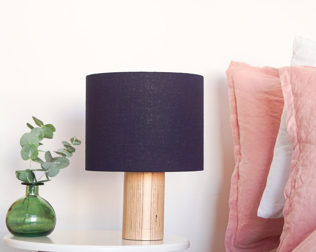 Navy Linen Drum Lampshade
