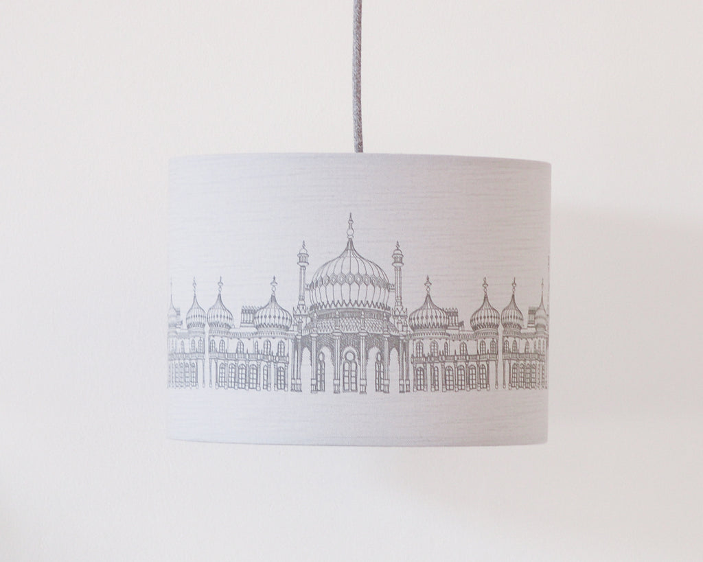 Brighton Pavilion Grey Linen Drum Lampshade