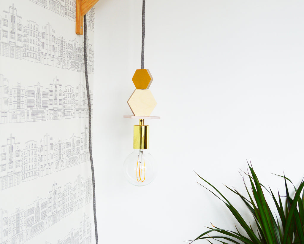 LED Brass And Hexagon Pendant Light
