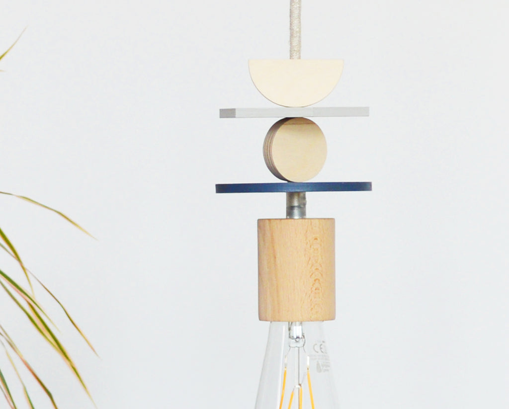 Navy And Grey Wooden Shapes Pendant Light