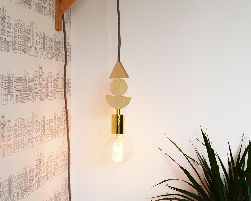 LED Brass And Wooden Pendant Light