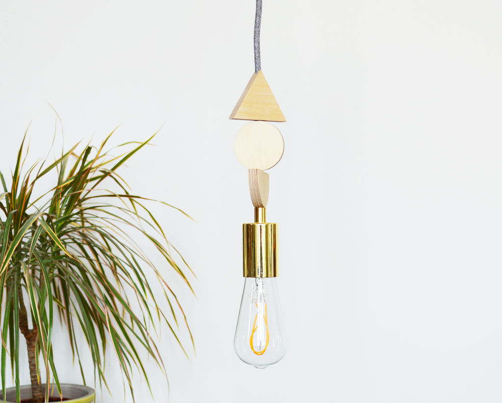 Brass and Wood Pendant Light