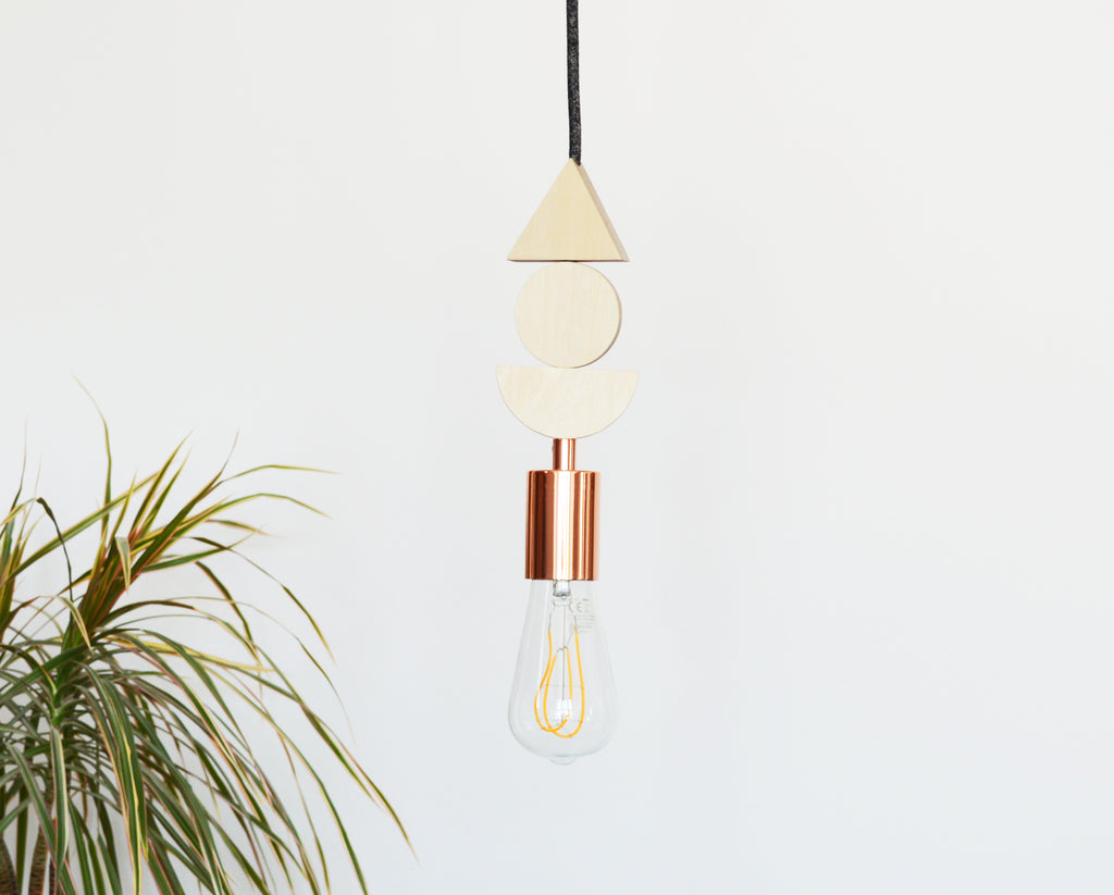 Wood and Copper Pendant Light
