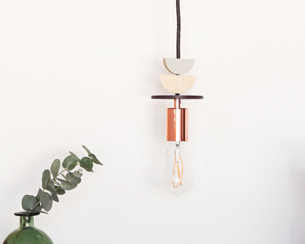 Purple, Grey and Copper Wooden Curve Pendant Light