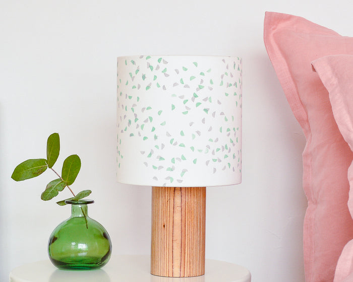 Green and Grey Segments Drum Table Lampshade