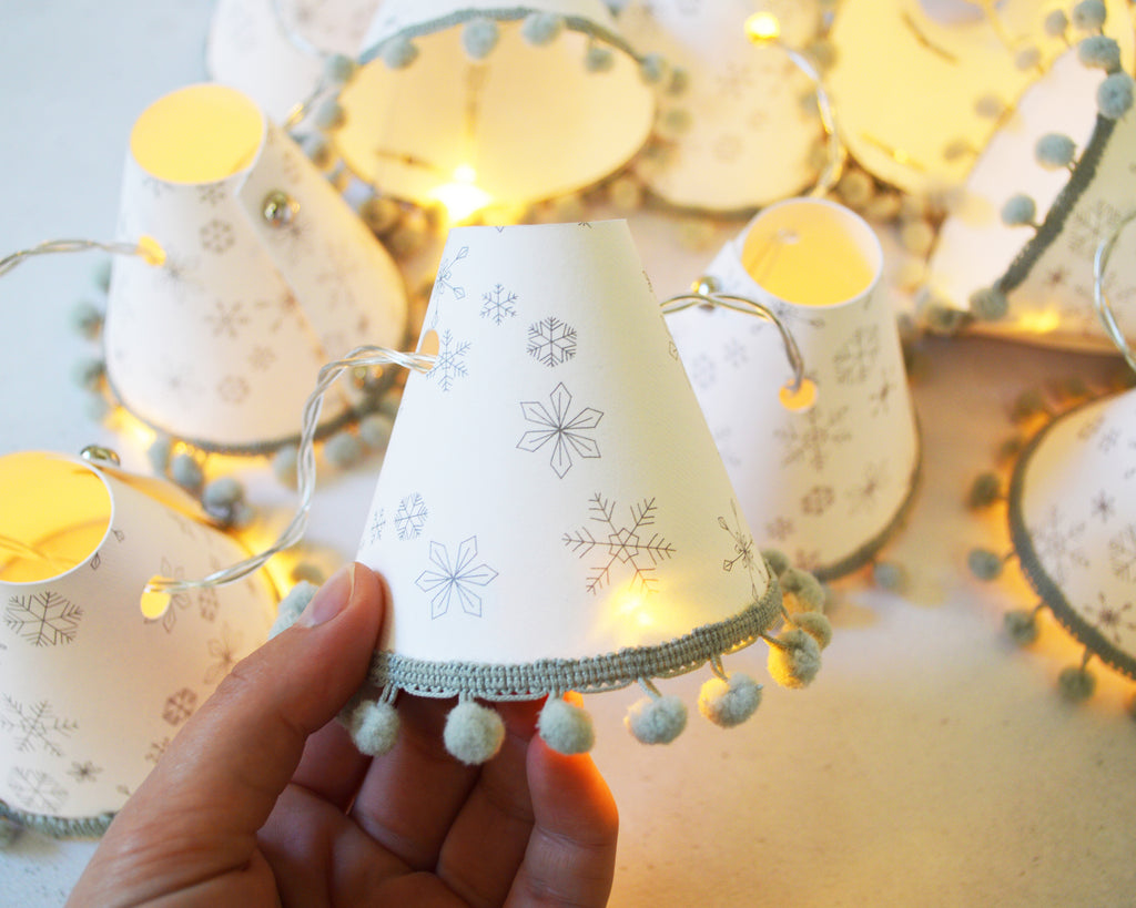 Snowflake Grey Christmas Fairy Lights