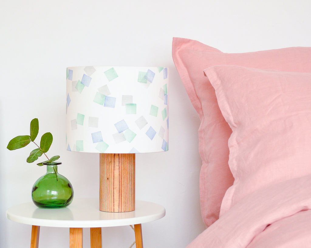 Green, Grey and Blue Squares Drum Lampshade