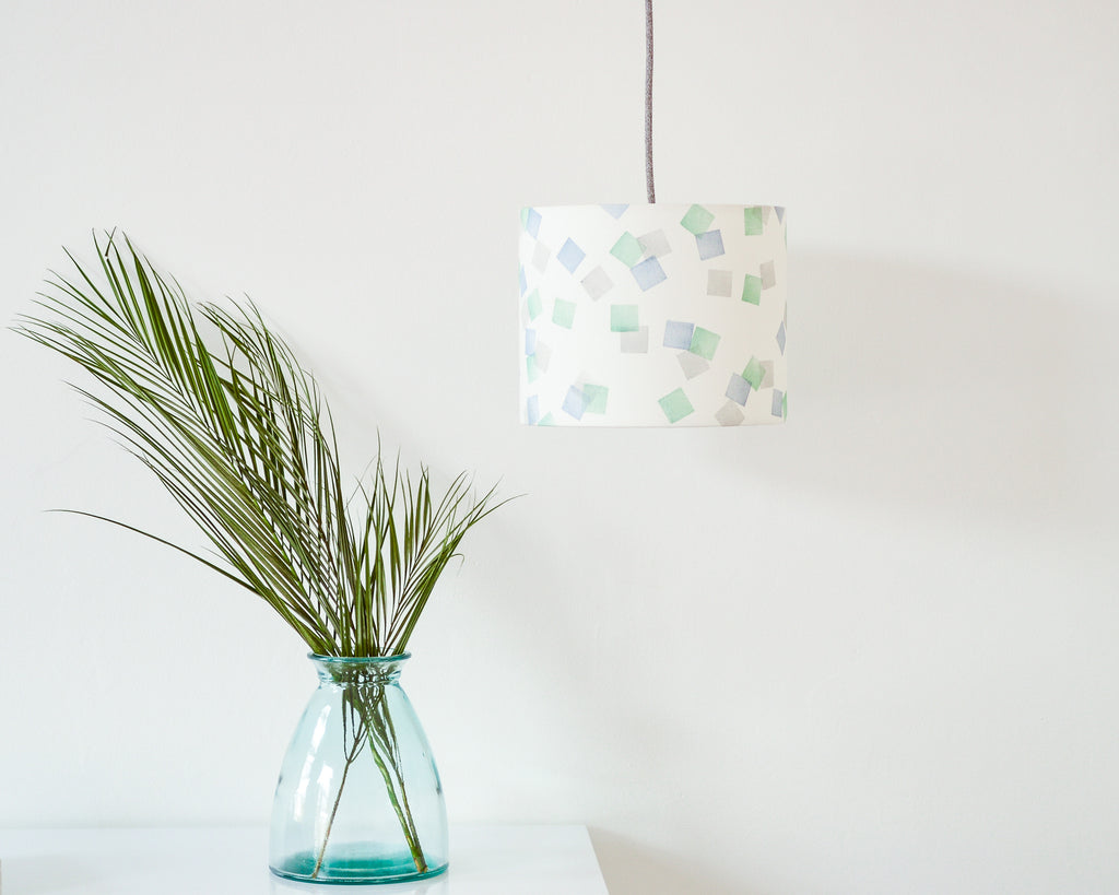 Green, Grey and Blue Squares Drum Ceiling Lampshade