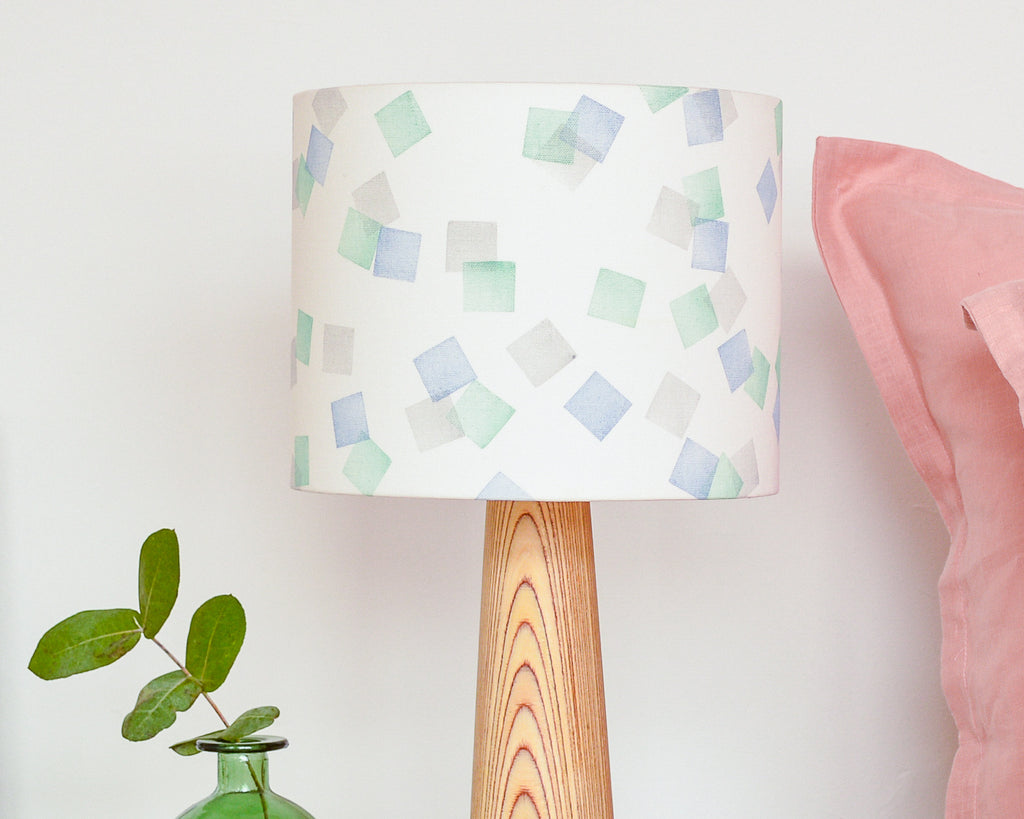 Green, Grey and Blue Squares Drum Table Lampshade