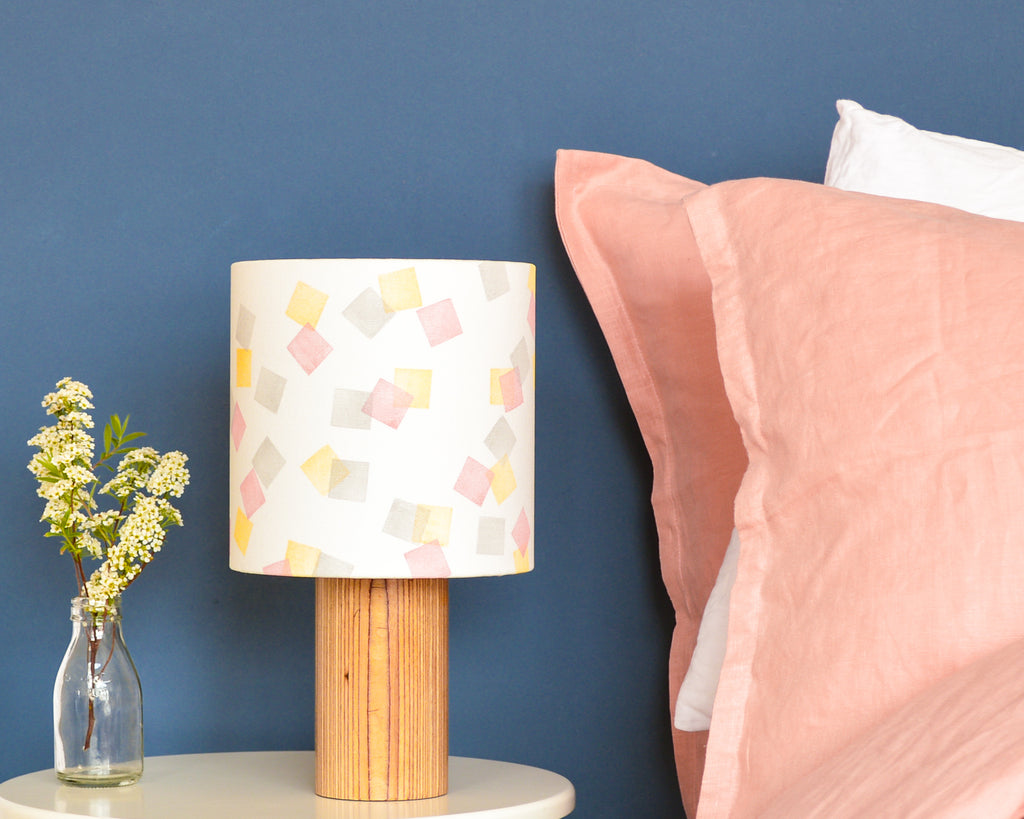 Pink, Yellow and Grey Squares Drum Lampshade