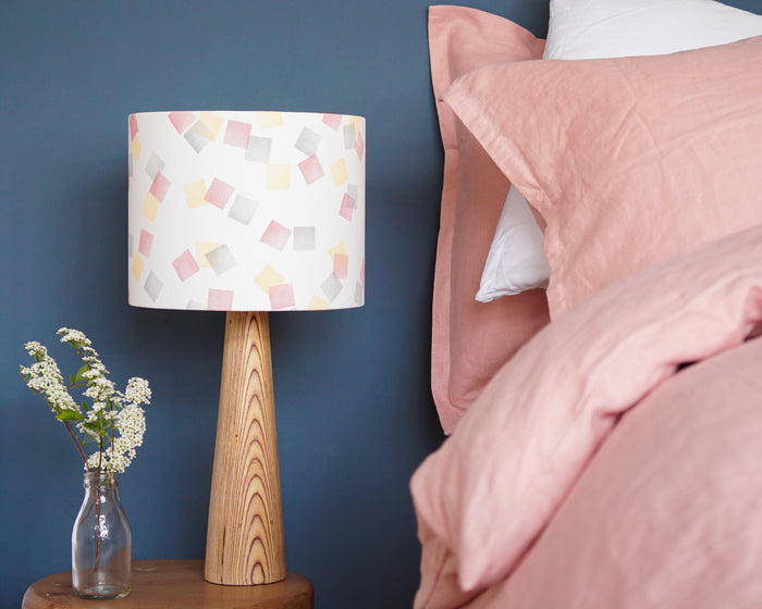 Pink, Yellow and Grey Squares Drum Table Lampshade