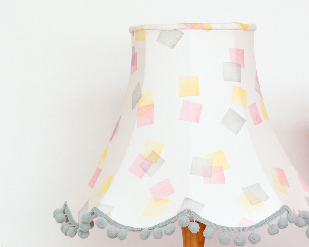 Pink, Yellow and Grey Squares Traditional Lampshade
