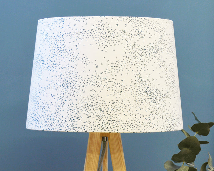 Starlings Teal Bird Tapered Lampshade - Lume + Joanna Corney