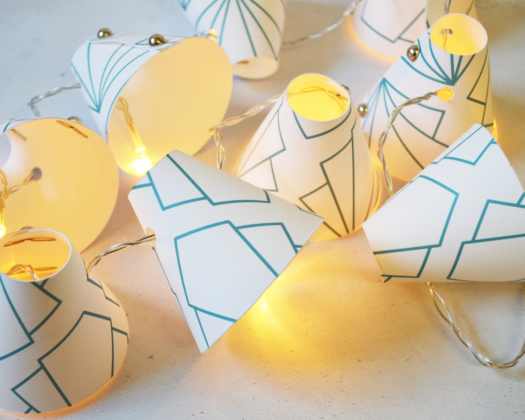 Turquoise Geometric Sunbeam Fairy Lights
