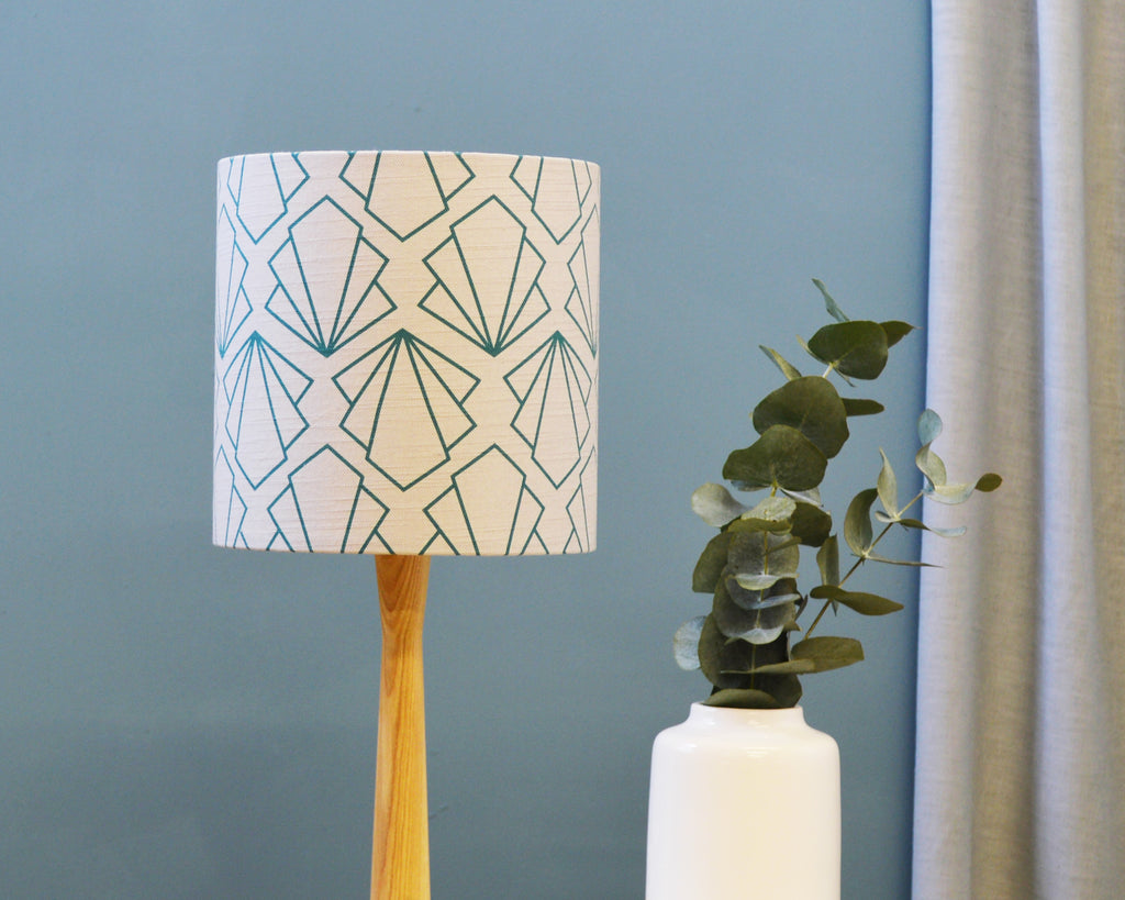 Sunbeam Turquoise and Grey Linen Drum Lampshade - Lume + Joanna Corney